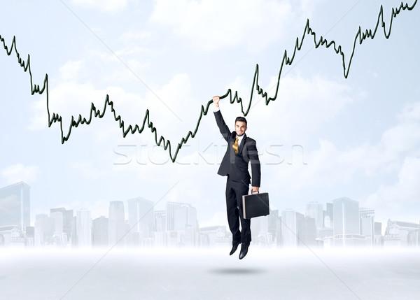 Opknoping zakenman grafiek touw hand ontwerp Stockfoto © ra2studio