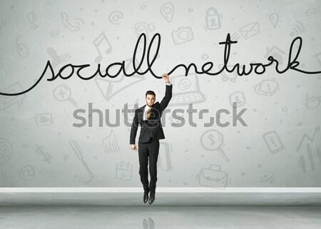Stockfoto: Opknoping · zakenman · touw · business · hand