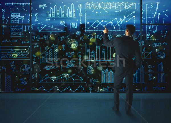 рисунок бизнесмен статистика бизнеса стекла стены Сток-фото © ra2studio