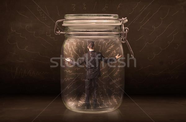 Zakenman binnenkant jar krachtig lijnen Stockfoto © ra2studio