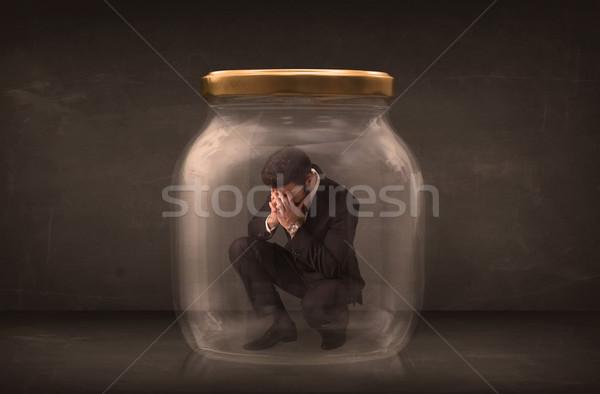 Biznesmen zamknięty szkła jar przestrzeni finansów Zdjęcia stock © ra2studio