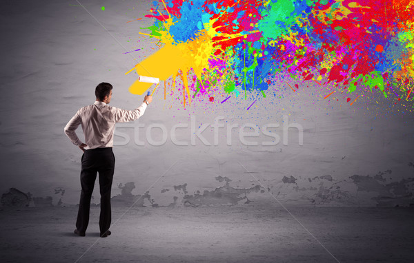Umsatz Person Malerei farbenreich splatter eleganten Stock foto © ra2studio
