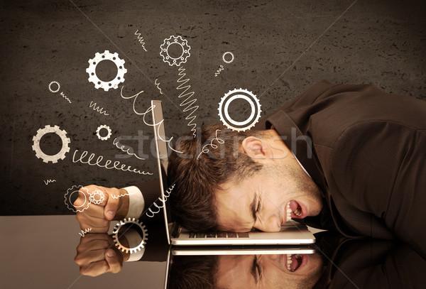 Attrezzi ruote jumping depresso testa cadere Foto d'archivio © ra2studio