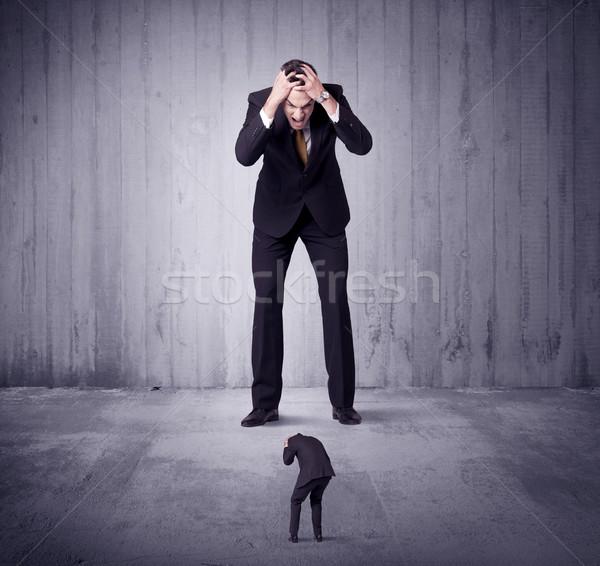 Enorme patrão empresa de pequeno porte homem gerente trabalhar Foto stock © ra2studio