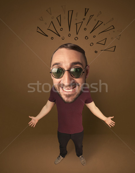 Big head person with social exclamation marks Stock photo © ra2studio