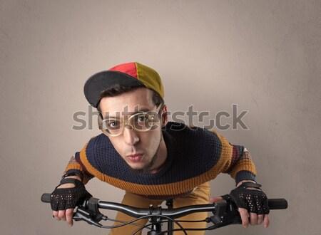 Extreme cyclist with bike Stock photo © ra2studio