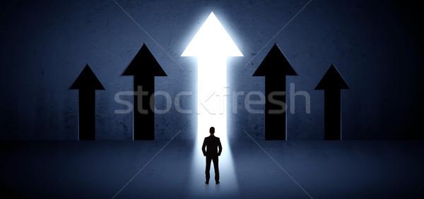 üzletember választ helyes út fiatal hát Stock fotó © ra2studio