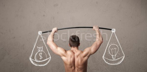 Izmos férfi kiegyensúlyozott erős testmozgás izom Stock fotó © ra2studio