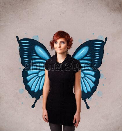 Cute dziewczyna anioł ilustrowany skrzydełka Zdjęcia stock © ra2studio