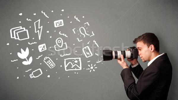 Fotós fiú fehér fotózás ikonok szimbólumok Stock fotó © ra2studio