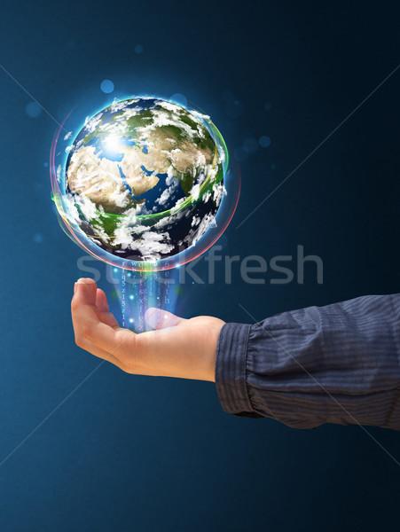 Vrouw aarde wereldbol jonge vrouw Stockfoto © ra2studio