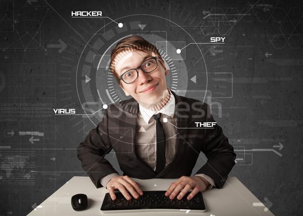 Jonge hacker futuristische hacking persoonlijke informatie Stockfoto © ra2studio