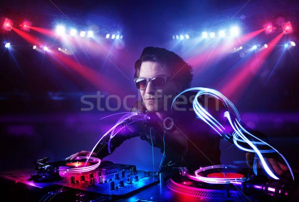 Dídzsé játszik zene fény nyaláb effektek Stock fotó © ra2studio