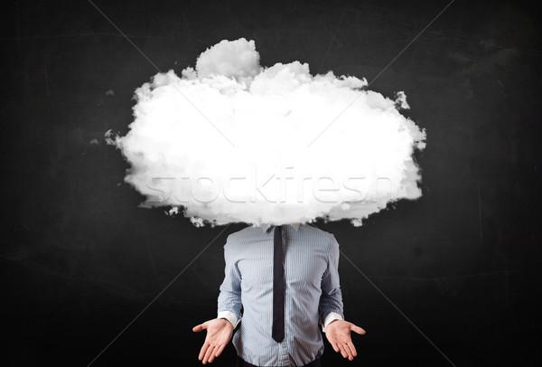 ストックフォト: ビジネスマン · 白 · 雲 · 頭 · コンピュータ