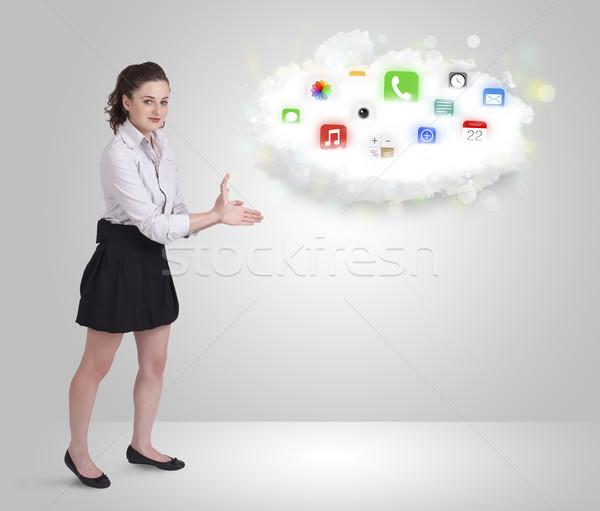 облаке красочный приложение иконки Сток-фото © ra2studio