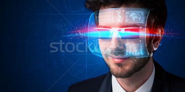 Man with future high tech smart glasses  Stock photo © ra2studio