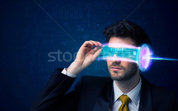 Zdjęcia stock: Człowiek · przyszłości · wysoki · tech · smartphone · okulary