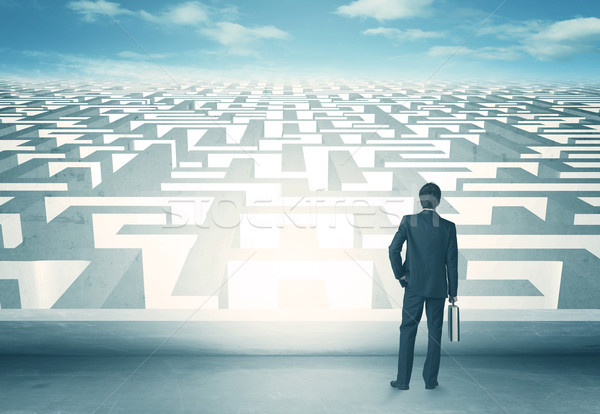 Naar labyrint zakenman muur achtergrond werknemer Stockfoto © ra2studio