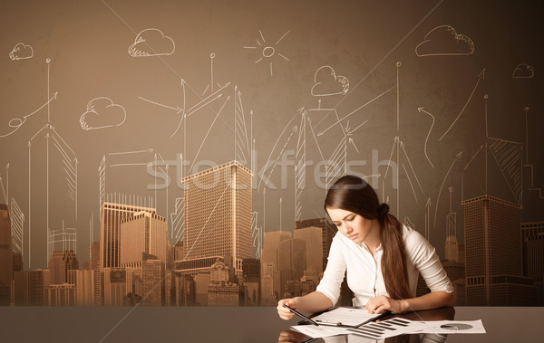 Businesswoman with buildings and measurements Stock photo © ra2studio