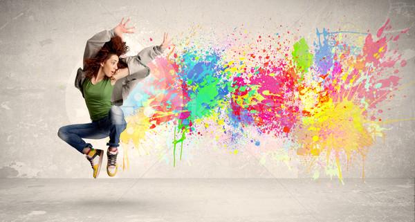 Feliz adolescente saltando colorido nosso agitar-se Foto stock © ra2studio
