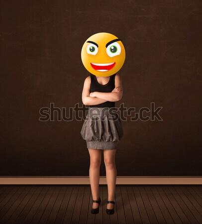 Stockfoto: Zakenvrouw · grappig · Geel · business · glimlach