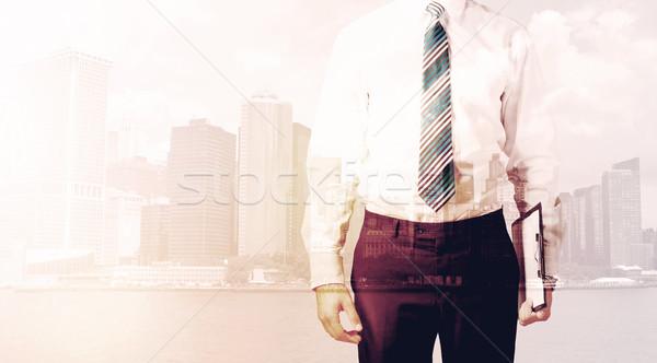 Işadamı ayakta Cityscape sıcak ışık adam Stok fotoğraf © ra2studio
