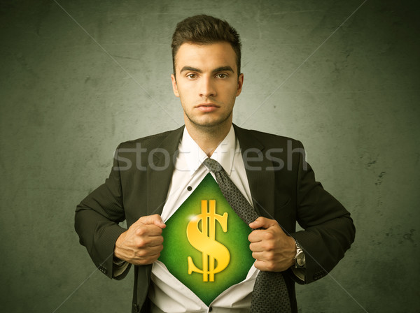 Businessman tearing off his shirt with dollar sign on chest Stock photo © ra2studio