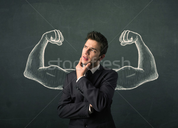 wondering with sketched strong and muscled arms Stock photo © ra2studio