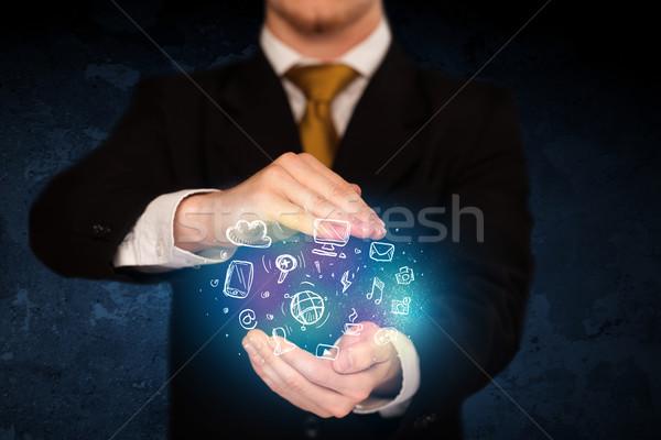 рисованной СМИ иконки бизнесмен рук Сток-фото © ra2studio