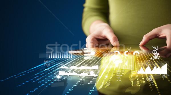 Mano touchpad tablet business mercato Foto d'archivio © ra2studio