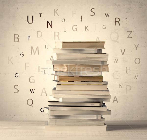 Książek pływające litery vintage starych papieru Zdjęcia stock © ra2studio