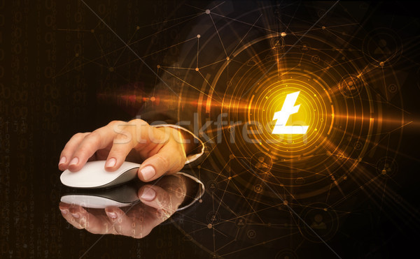 Stock photo: Hand using mouse with cryptocurrency concept
