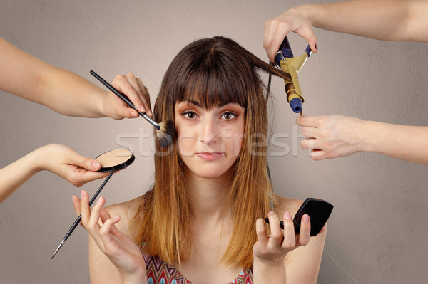 Portrait of a young woman at cosmetician Stock photo © ra2studio