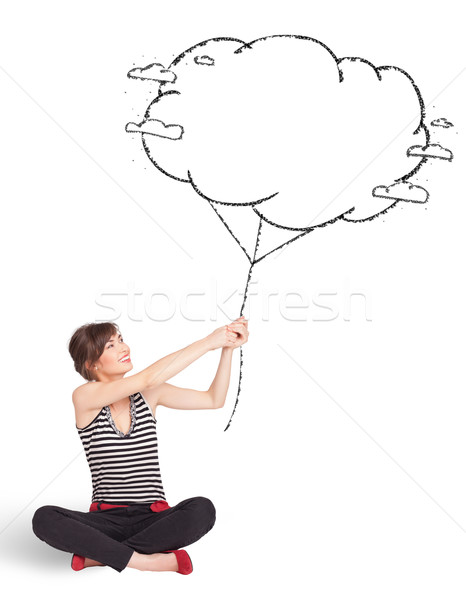 Young lady holding cloud balloon drawing Stock photo © ra2studio