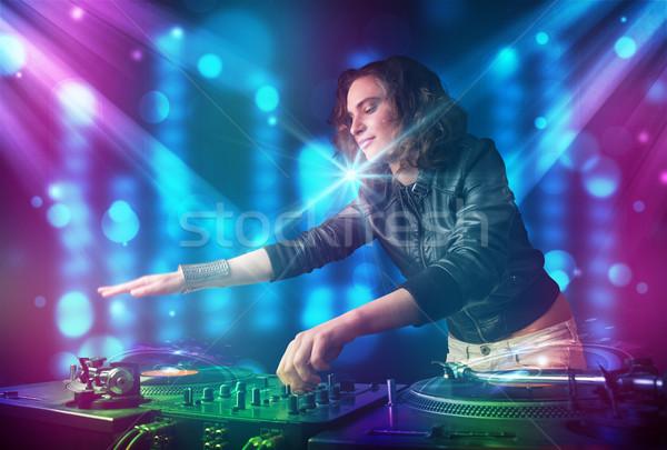 Lány zene klub kék lila fények Stock fotó © ra2studio