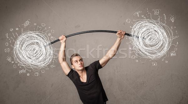 Kas adam kaos güçlü el Stok fotoğraf © ra2studio
