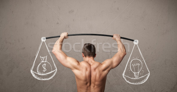 Gespierd man evenwichtige sterke gymnasium oefening Stockfoto © ra2studio