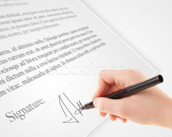 Hand schrijven persoonlijke handtekening papier vorm Stockfoto © ra2studio