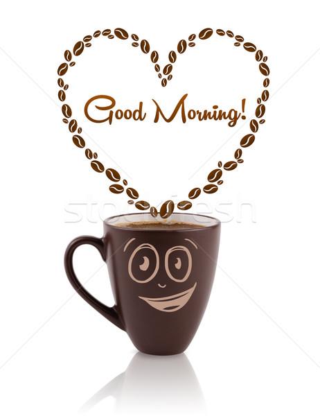 Tasse de café grains de café coeur bonjour signe Photo stock © ra2studio