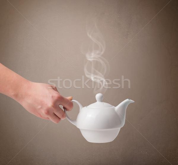 çay pot soyut beyaz buhar Stok fotoğraf © ra2studio
