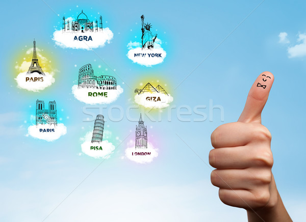 Derűs ujj emotikonok városnézés ikonok boldog Stock fotó © ra2studio