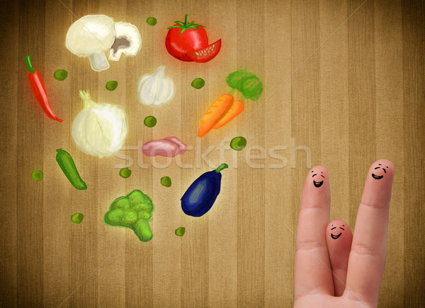 Feliz rosto sorridente dedos olhando ilustração colorido Foto stock © ra2studio