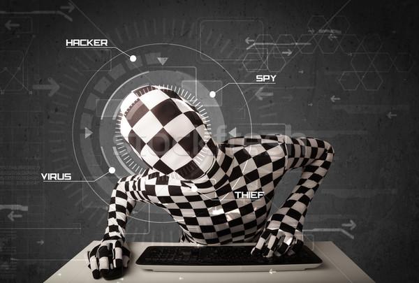 Hacker identiteit futuristische hacking persoonlijke informatie Stockfoto © ra2studio