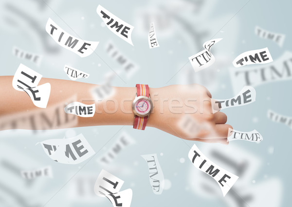 Stok fotoğraf: Saat · izlemek · zaman · uçan · uzak · kâğıt