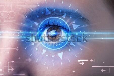 Dziewczyna oka patrząc niebieski tęczówki nowoczesne Zdjęcia stock © ra2studio