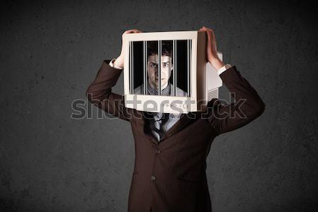 Bilgisayar monitörü ekran genç kafa bilgisayar Stok fotoğraf © ra2studio