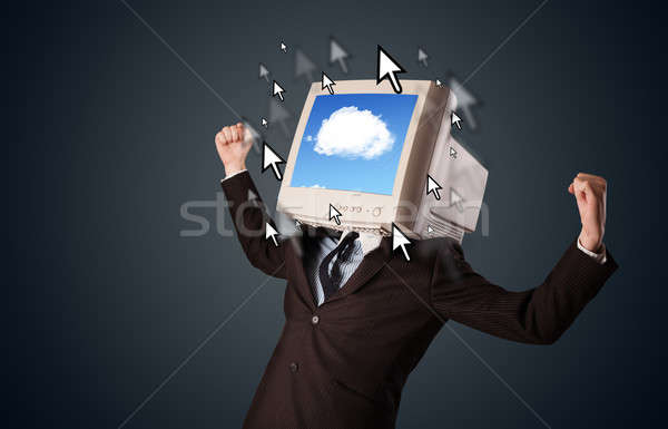 Business man with a monitor on his head, cloud system and pointe Stock photo © ra2studio