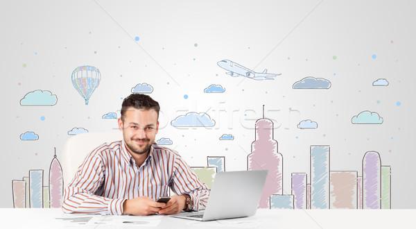 Atraente empresário cidade jovem escritório Foto stock © ra2studio