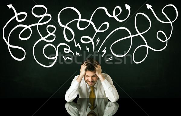 депрессия бизнесмен сидят направлении линия Сток-фото © ra2studio