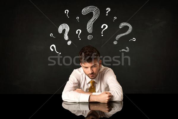 сидят бизнесмен депрессия бизнеса человека Сток-фото © ra2studio